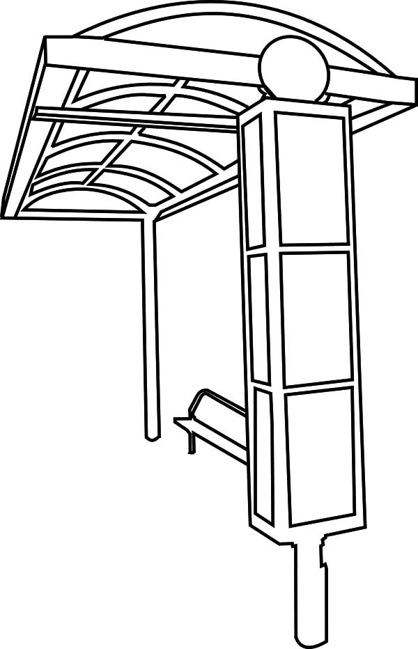 Bus Stop, : Bus Stop Coloring Pages for Kids