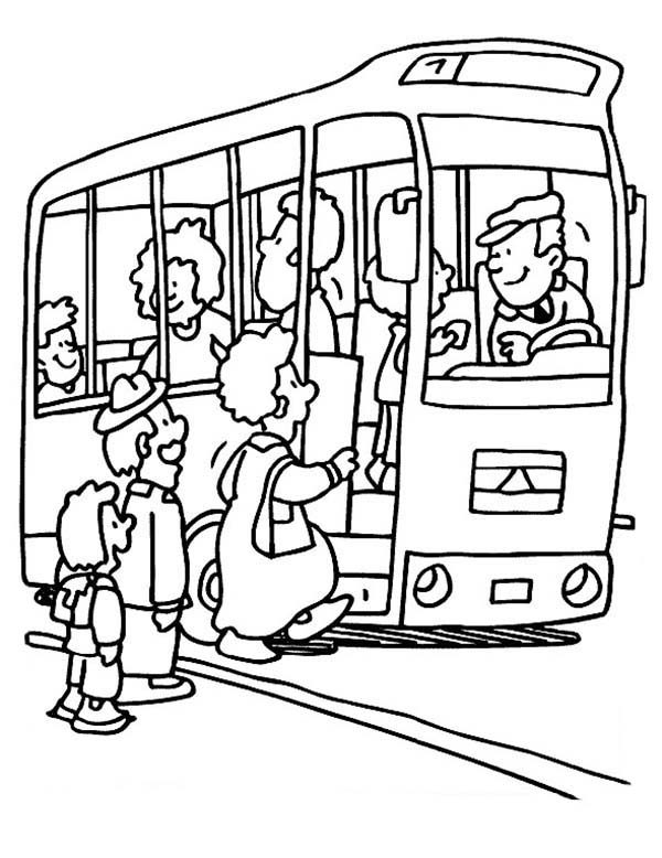 Bus Stop, : Bus Stop Waiting for Passanger Go Up Coloring Pages