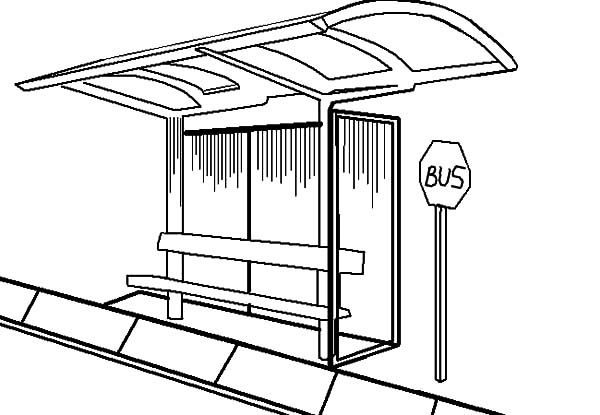 Bus Stop, : Bus Stop is Place Where We Wait for Bus Coloring Pages