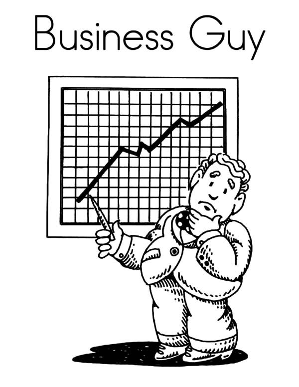 Business, : Business Guy and Business Chart Coloring Pages