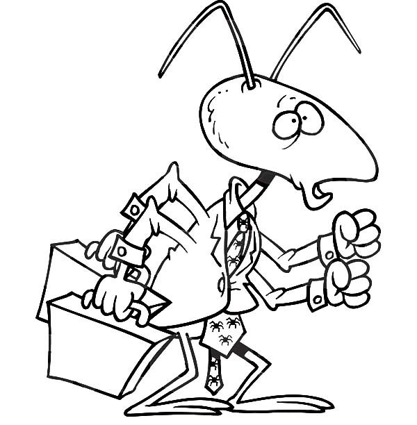 Business, : Business Man Ant Bring Two Suitcase Coloring Pages