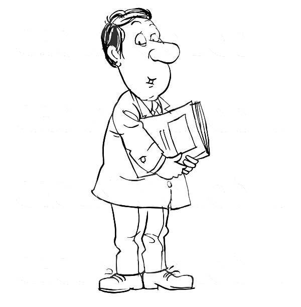 Business, : Business Man Holding Paperwork Coloring Pages