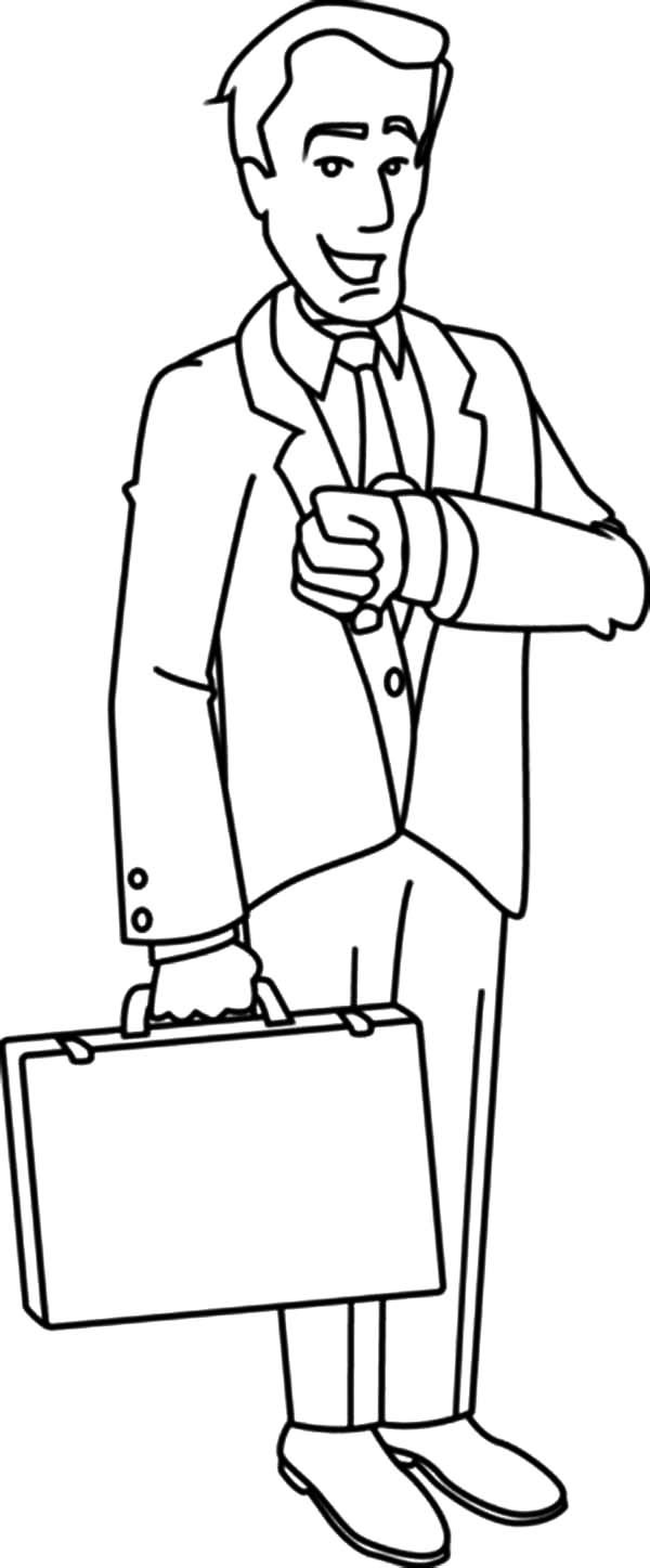 Business, : Business Man Looking at His Watch Coloring Pages