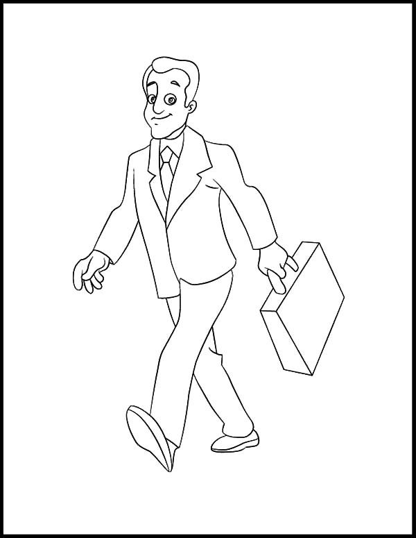 Business, : Business Man Walking Confidently Coloring Pages