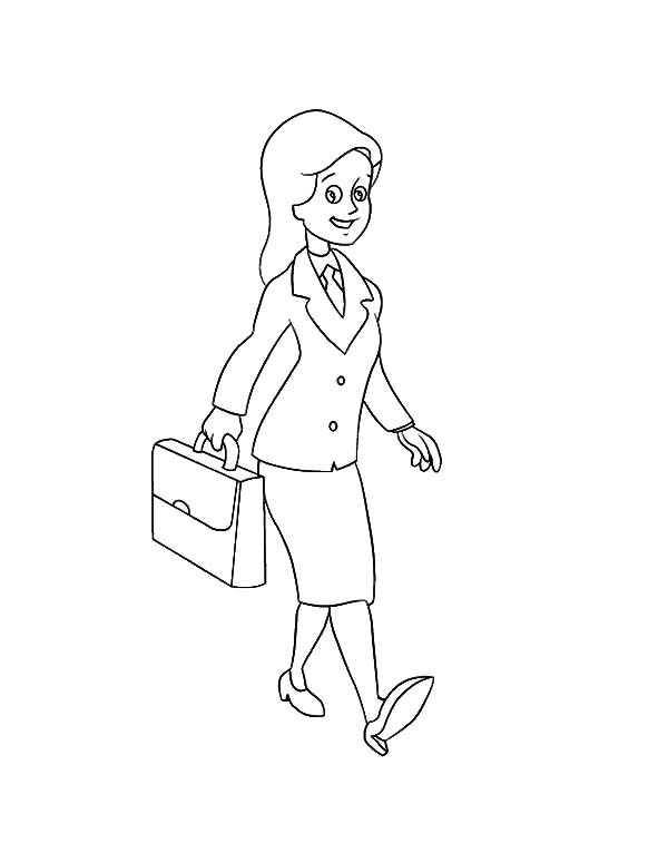 Business, : Business Woman Coloring Pages