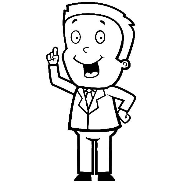 Business, : Businessman Expressing an Idea Coloring Pages