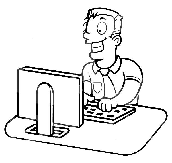 Business, : Businessman Working on a Computer Coloring Pages