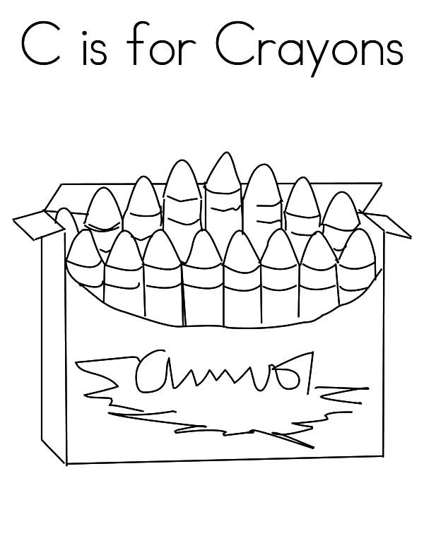 Box Crayons, : C is for Box Crayons Coloring Pages