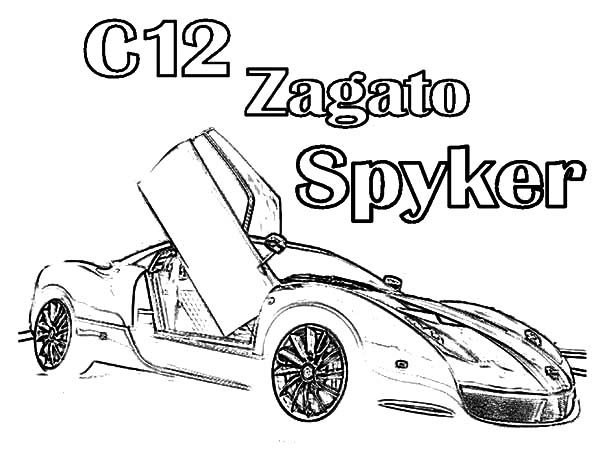 Bugatti Car, : C12 Zagato Spyker Bugatti Car Coloring Pages