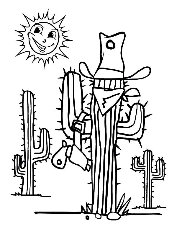 Cactus, : Cactus Disguised as Cowboy Coloring Pages