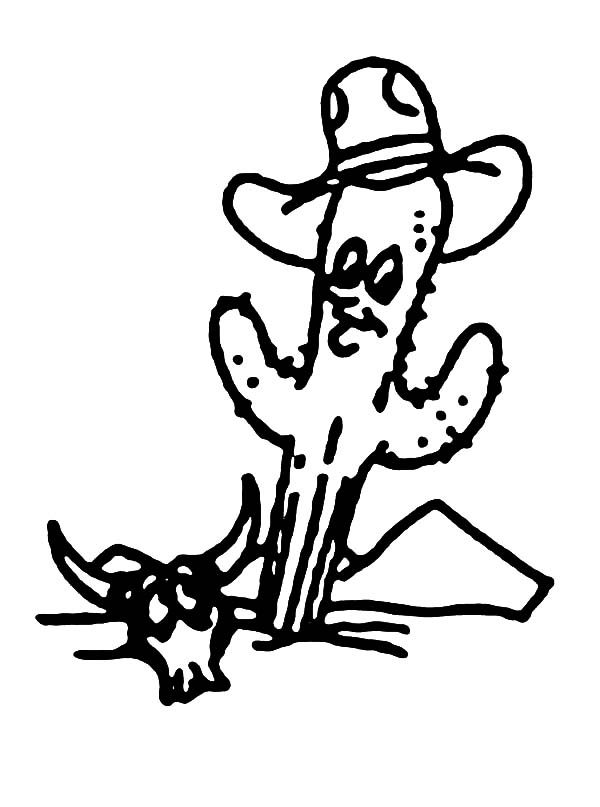 Cactus, : Cactus Wearing Cowboy Hat Coloring Pages