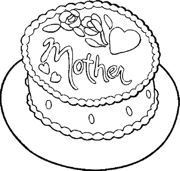Cakes, : Cake Present for Mother Coloring Pages