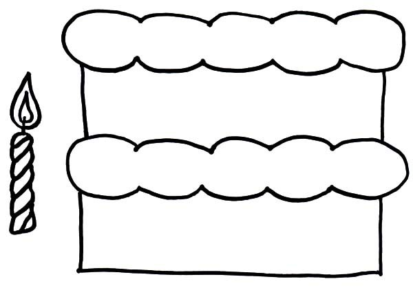Cakes, : Cake and Candle Coloring Pages
