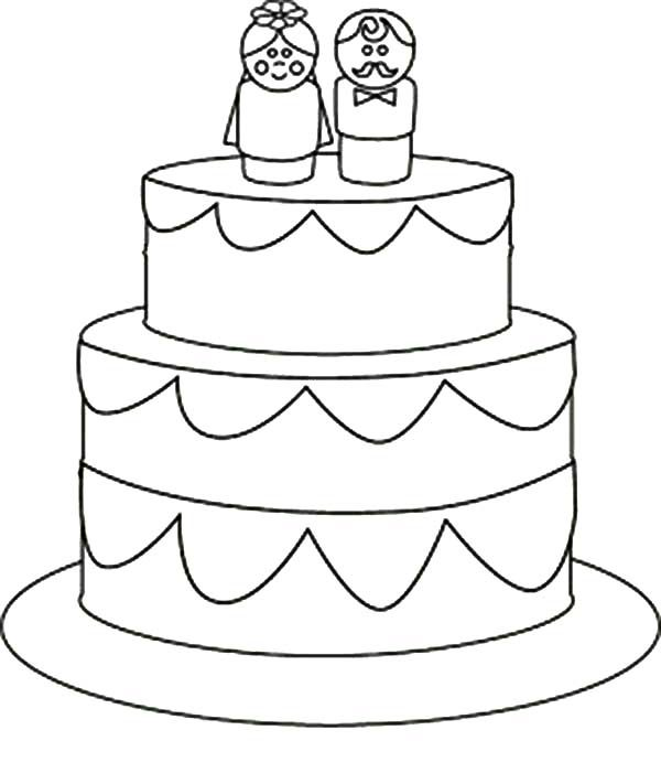 Cakes, : Cake for Great Couple Coloring Pages