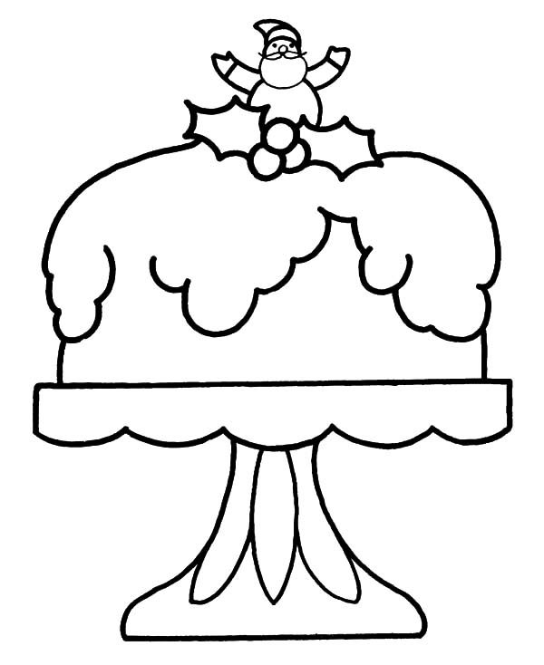 Cakes, : Cake for Santa Claus Coloring Pages