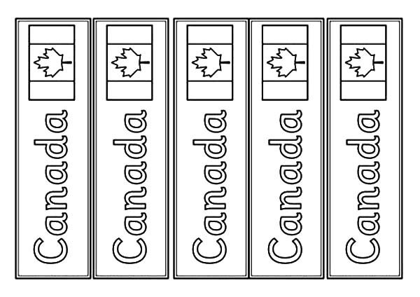 Bookmarks, : Canada Country Flag Bookmarks Coloring Pages