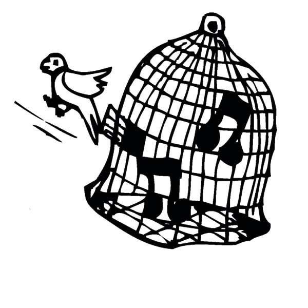 Bird Cage, : Canary Singing in Bird Cage Coloring Pages