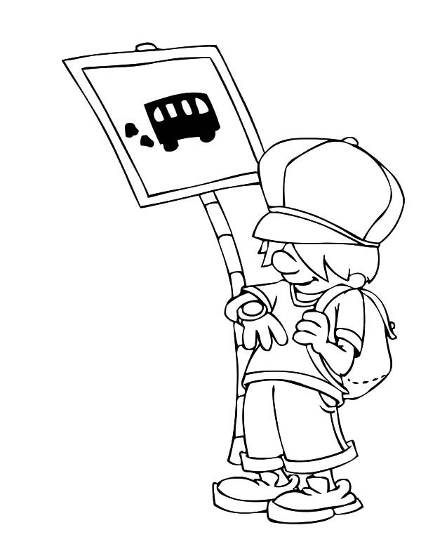 Cannot Wait Any Longer At Bus Stop Coloring Pages