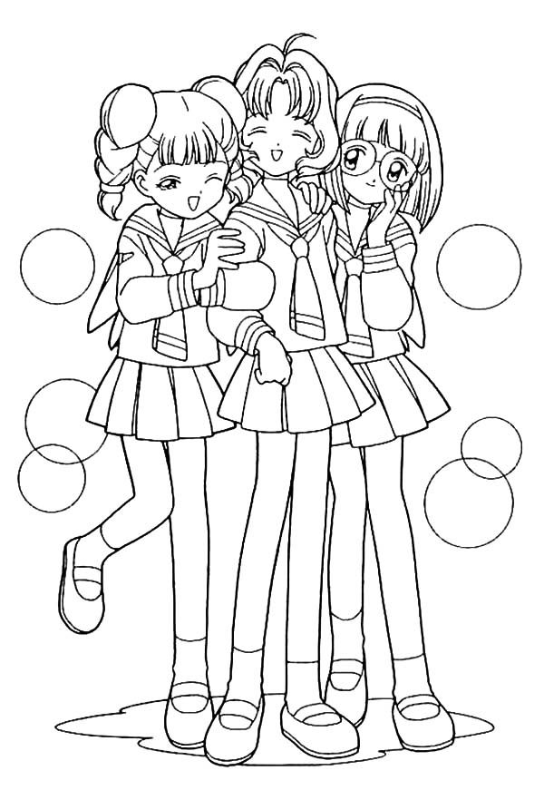Best Friends, : Cardcaptor Sakura School Best Friends Coloring Pages