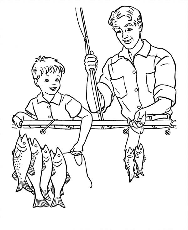 Best Dad, : Catching a Lot of Fish with Best Dad Coloring Pages
