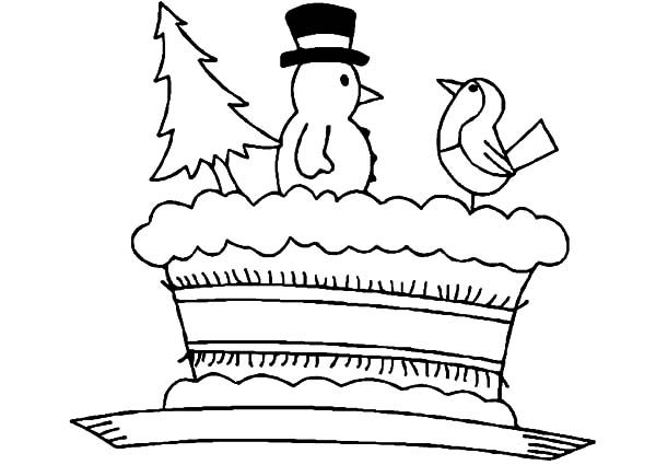 Cakes, : Christmas Cake Coloring Pages