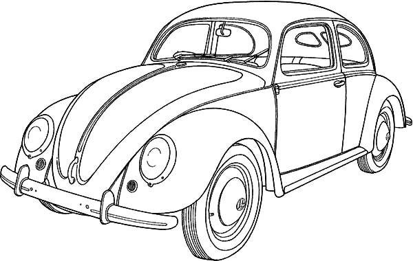 Bug Car Coloring Pages : Classic car collector beetle coloring pages best