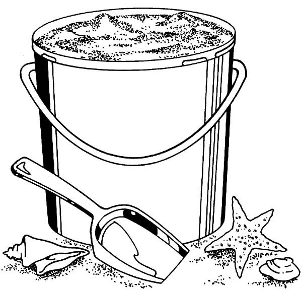 Beach Bucket, : Collecting Sand Beach Bucket Coloring Pages