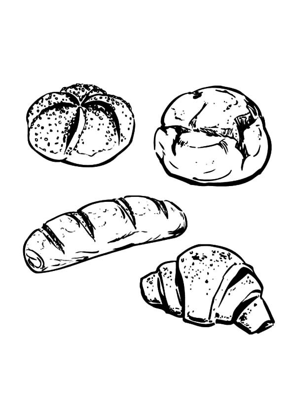Bread, : Cooking Bread for Thanksgiving Coloring Pages