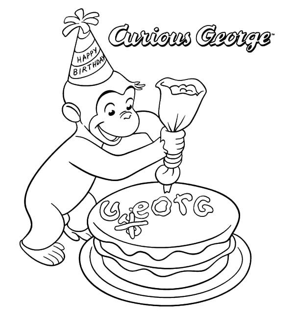 Cakes, : Curious George Decorating Cake Coloring Pages