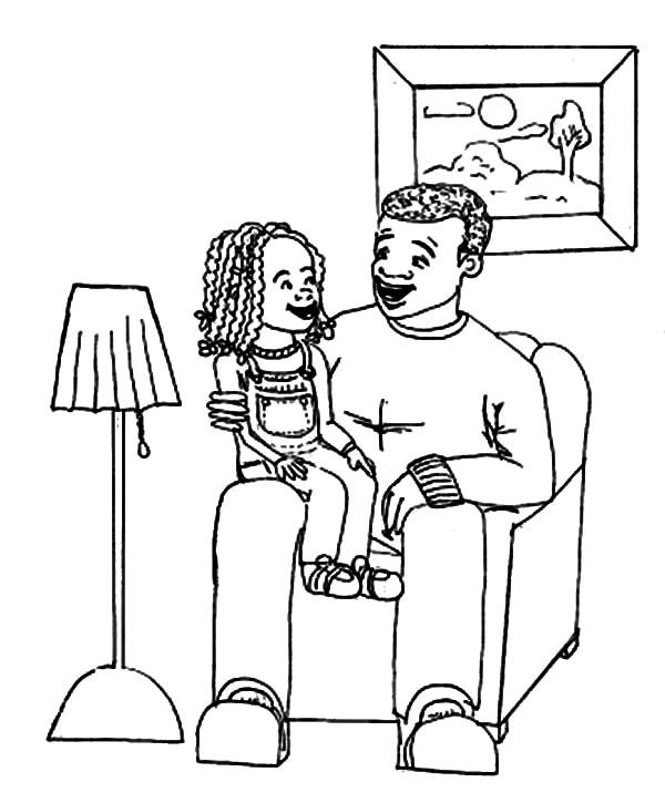 Best Dad, : Curly Girl Best Dad Coloring Pages