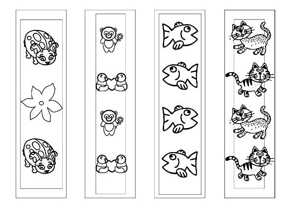 Bookmarks, : Cute Animal Picture Bookmarks Coloring Pages