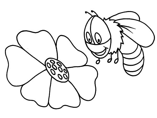 Bumble Bee, : Cute Bumble Bee Flying Over Flower Coloring Pages