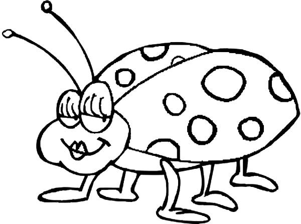 Beetle, : Cute Female Beetle Coloring Pages