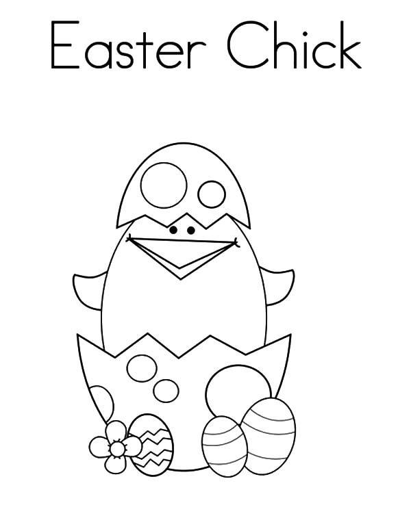 Broken Egg, : Cute Little Easter Chick Broken Egg Coloring Pages