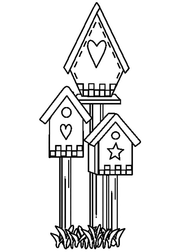 Bird House, : Cute Shaped Bird House Coloring Pages