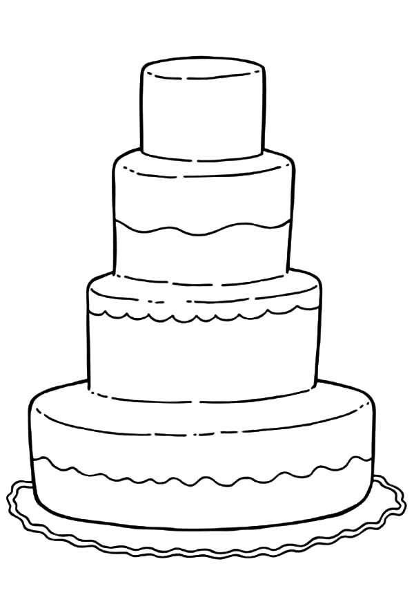 Cakes, : Decorating Wedding Cake Coloring Pages