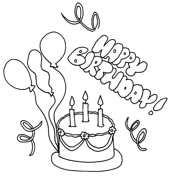 Birthday, : Delicious Birthday Cake with Balloons Coloring Pages
