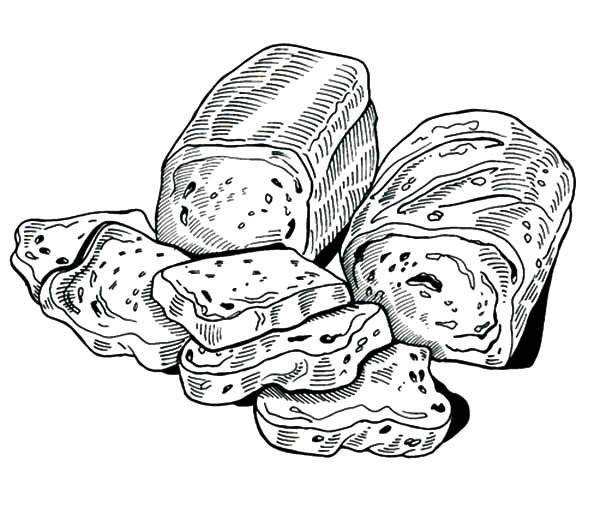 Bread, : Delicious Bread Coloring Pages