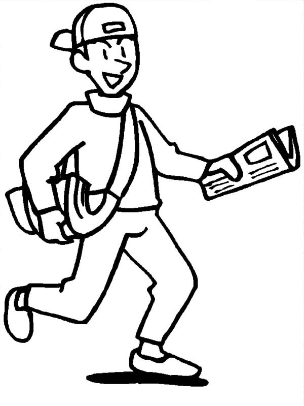 Business, : Delivering Business Newspaper Coloring Pages