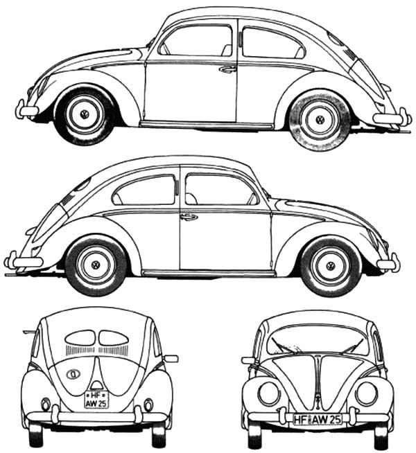 Beetle Car, : Designing Beetle Car Coloring Pages