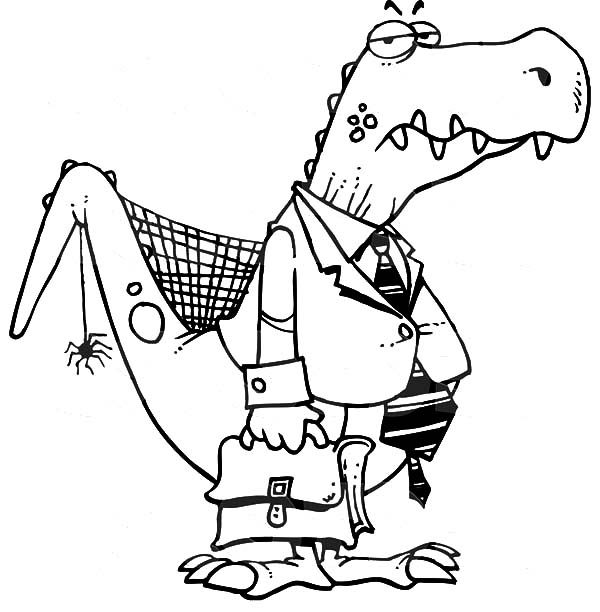 Business, : Dinosaurus Dressing Like Business Coloring Pages