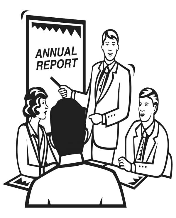 Business, : Discussing Business Annual Report Coloring Pages