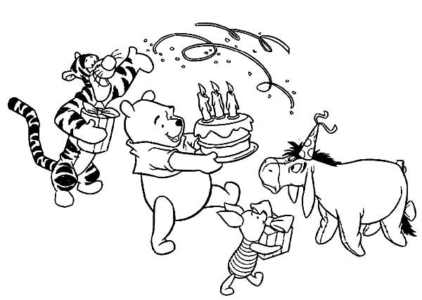 happy birthday pooh bear coloring pages | Disney Birthday for Winnie the Pooh Coloring Pages | Best ...