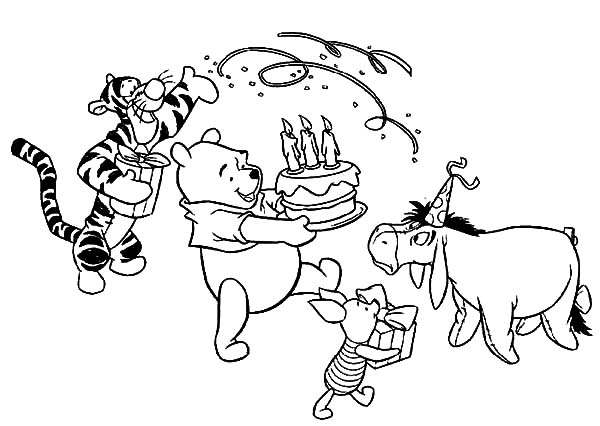 Happy birthday winnie the pooh coloring pages ~ Disney Birthday for Winnie the Pooh Coloring Pages: Disney ...