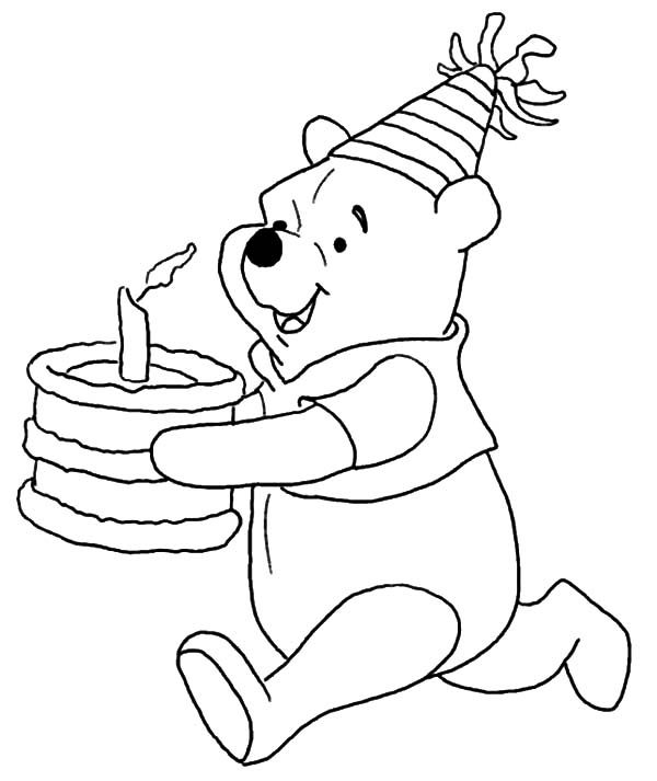 Birthday, : Disney Winnie the Pooh Running with Birthday Cake Coloring Pages