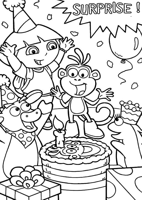 Birthday, : Dora the Explorer Friend Boots Surprise Birthday Party Coloring Pages