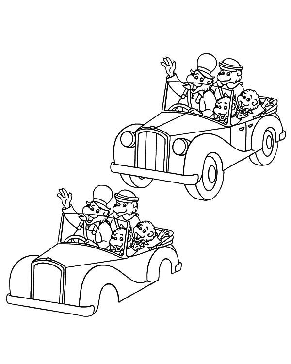 Berenstain Bear, : Drawing Berenstain Bear Riding Car Coloring Pages