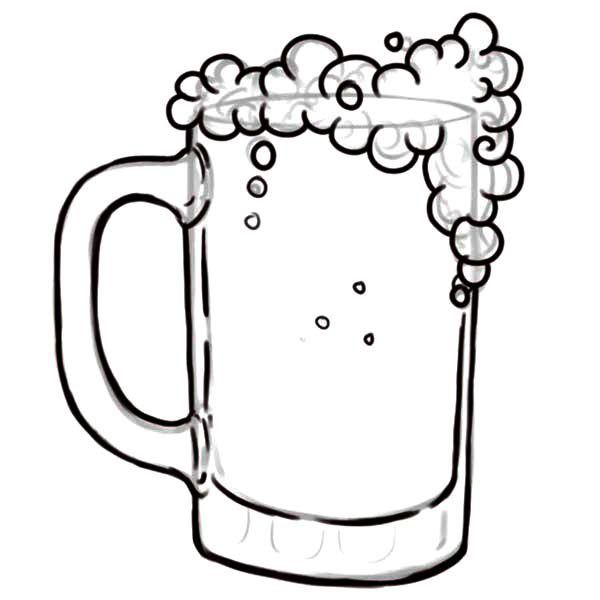 Beer, : Drawing Glass of Beer Coloring Pages