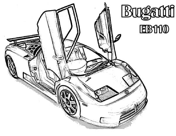 Bugatti Car, : EB110 Bugatti Car Coloring Pages
