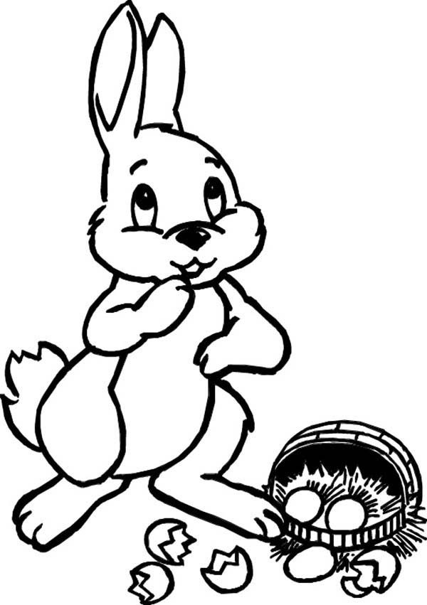 Broken Egg, : Easter Bunny Broken-Egg Coloring Pages